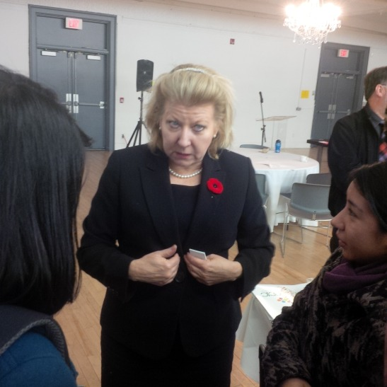 My Businesses: Ms Lois Brown, Parliamentary Secretary to the Minister of International Cooperation Stresses a point while talking to the youths from Latin and Central America after officially closing the 2013 OCIC Global Citizens Youth Forum, at 519 Church Street Community Centre.