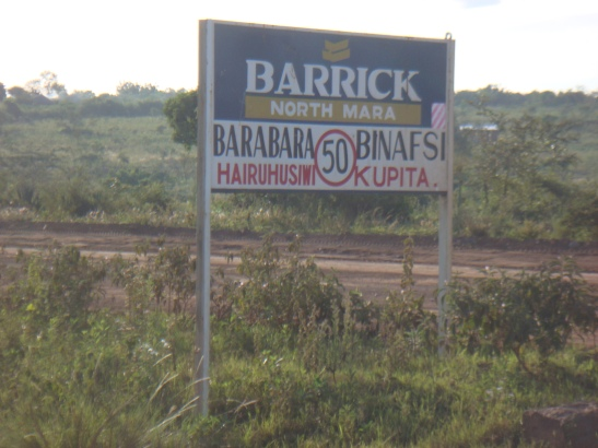 This one of the many prohibitive signposts around African Barrick Gold North Mara Gold Mine area. Photo by Afrikayetu